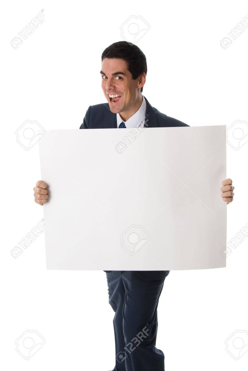 hyper man in blue suit holding a white card Stock Photo - 652993