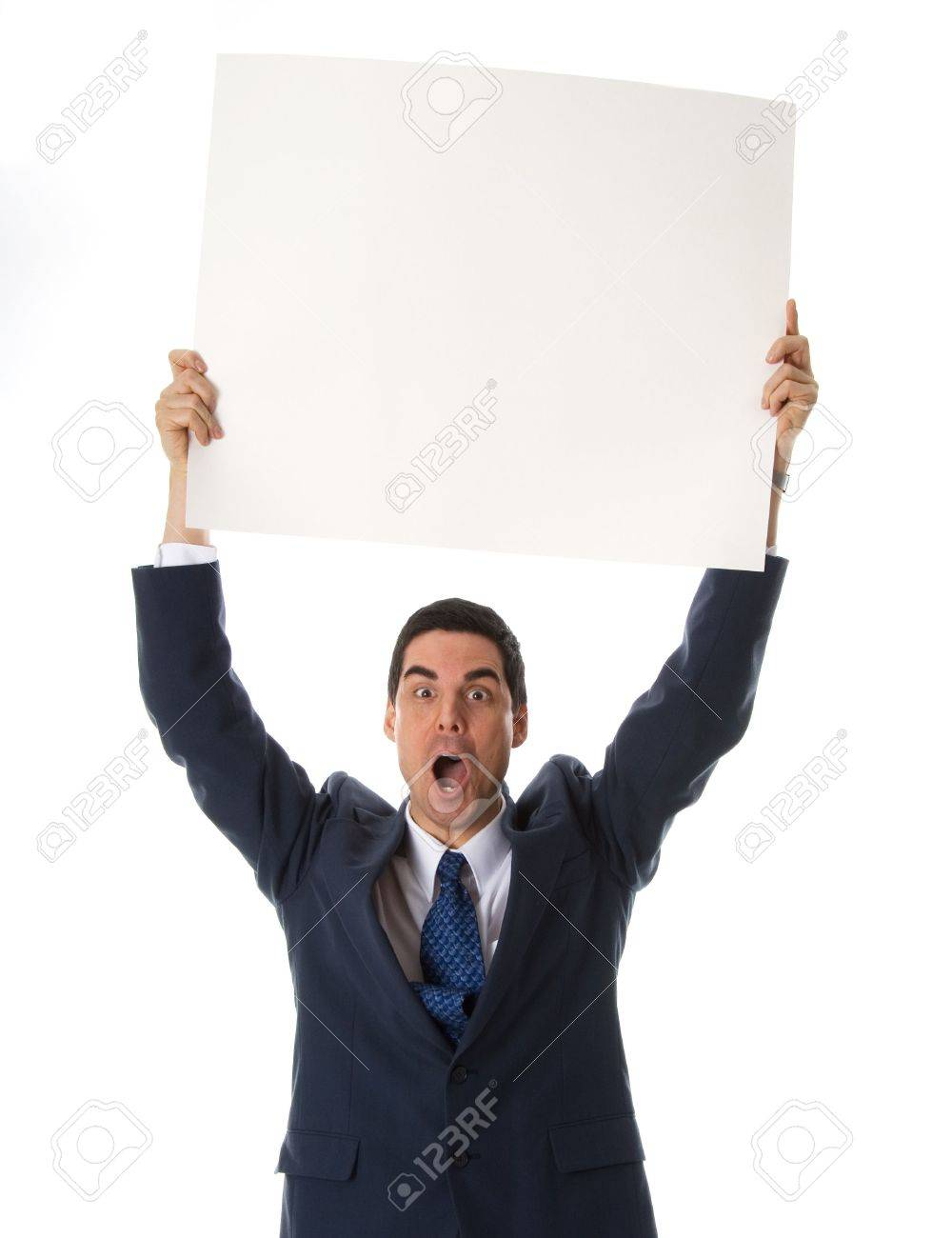 man in blue suit holing a card above his head Stock Photo - 652997