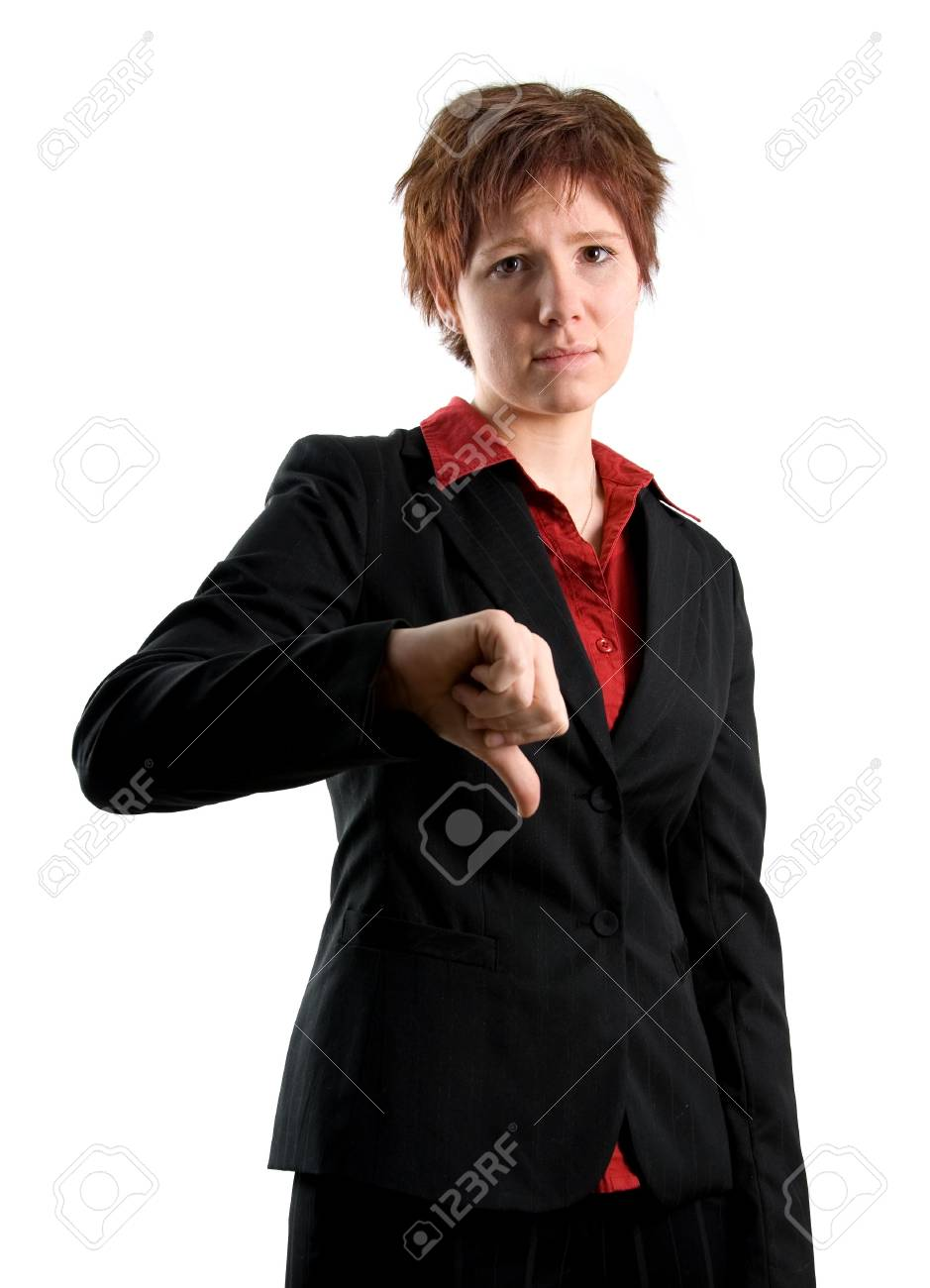 woman in black jacket with her thumb pointing down Stock Photo - 665020