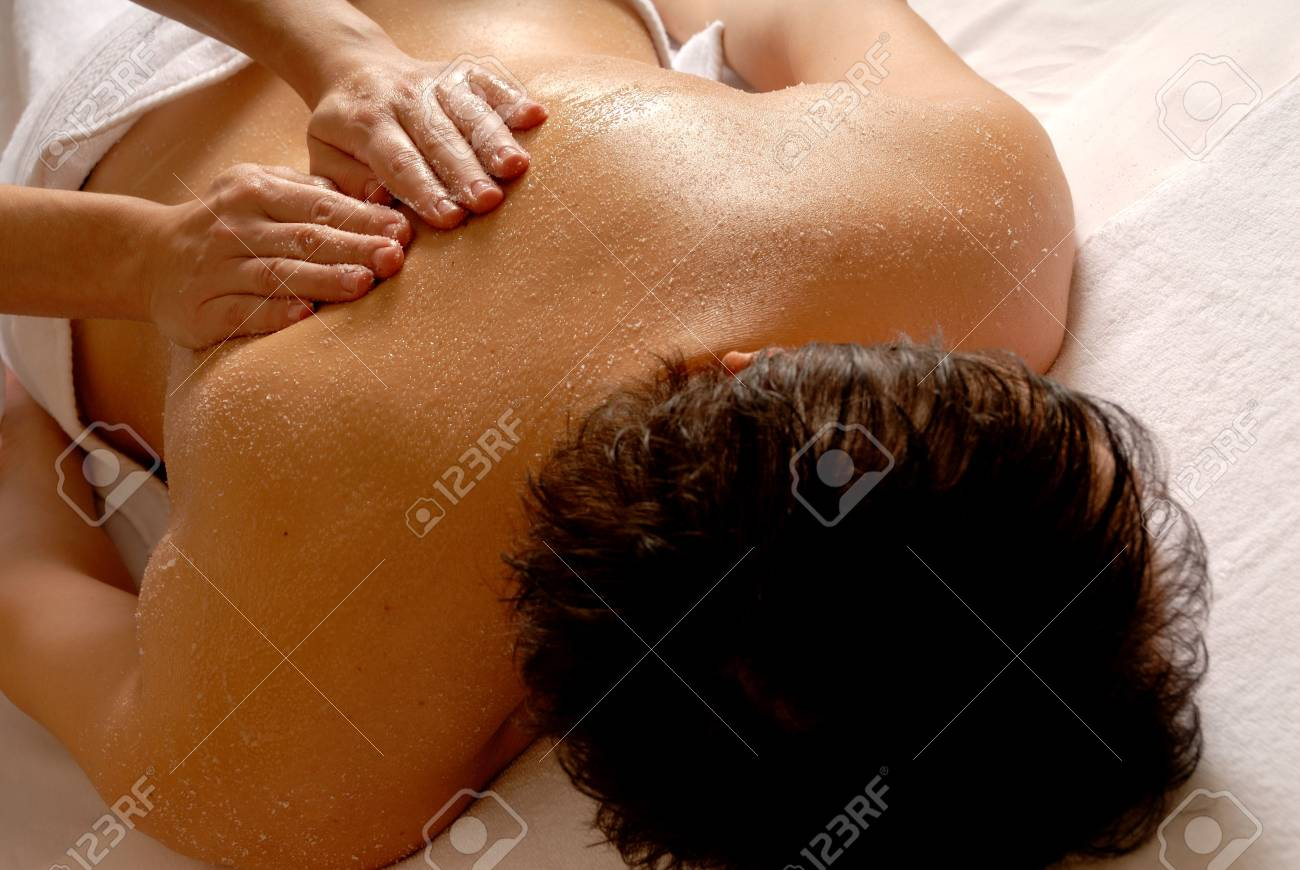 salt massage given by a therapist in a spa Stock Photo - 693746