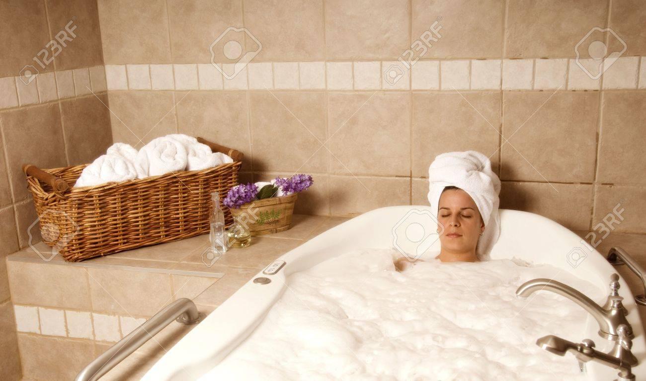 cute girl in a spa bath relaxing Stock Photo - 729421