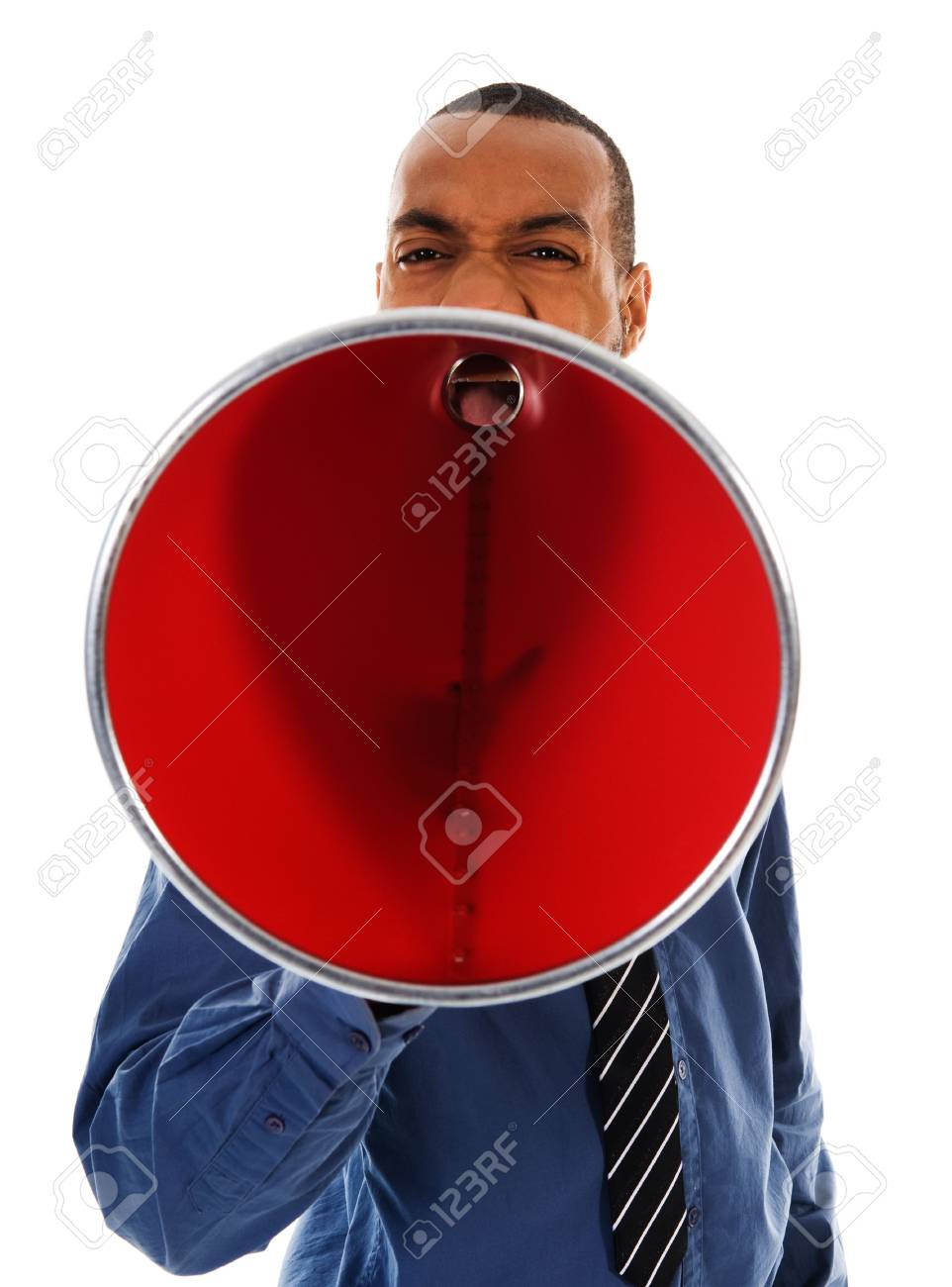 African-american business man yelling in a red megaphone Stock Photo - 2752714