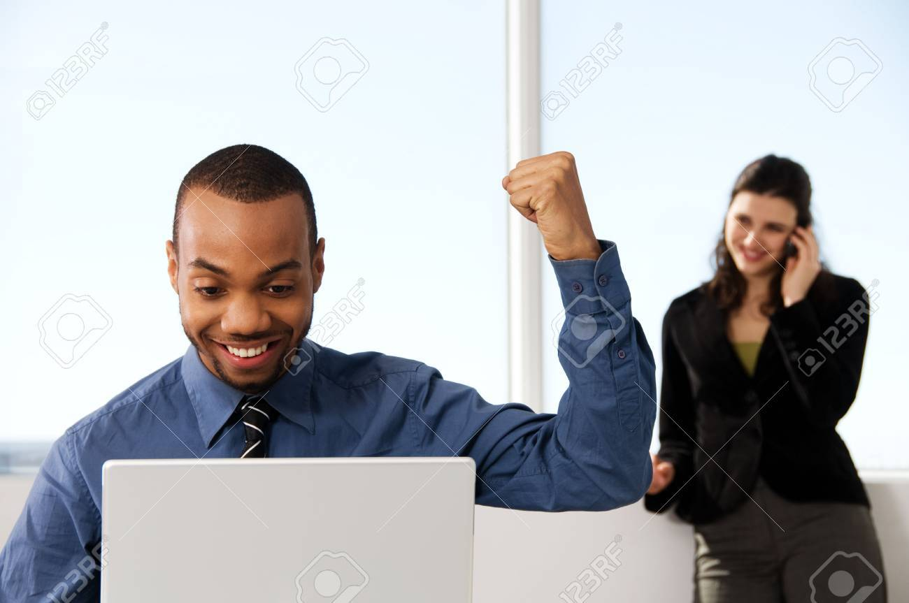 male and female business partners in a window office Stock Photo - 2778441