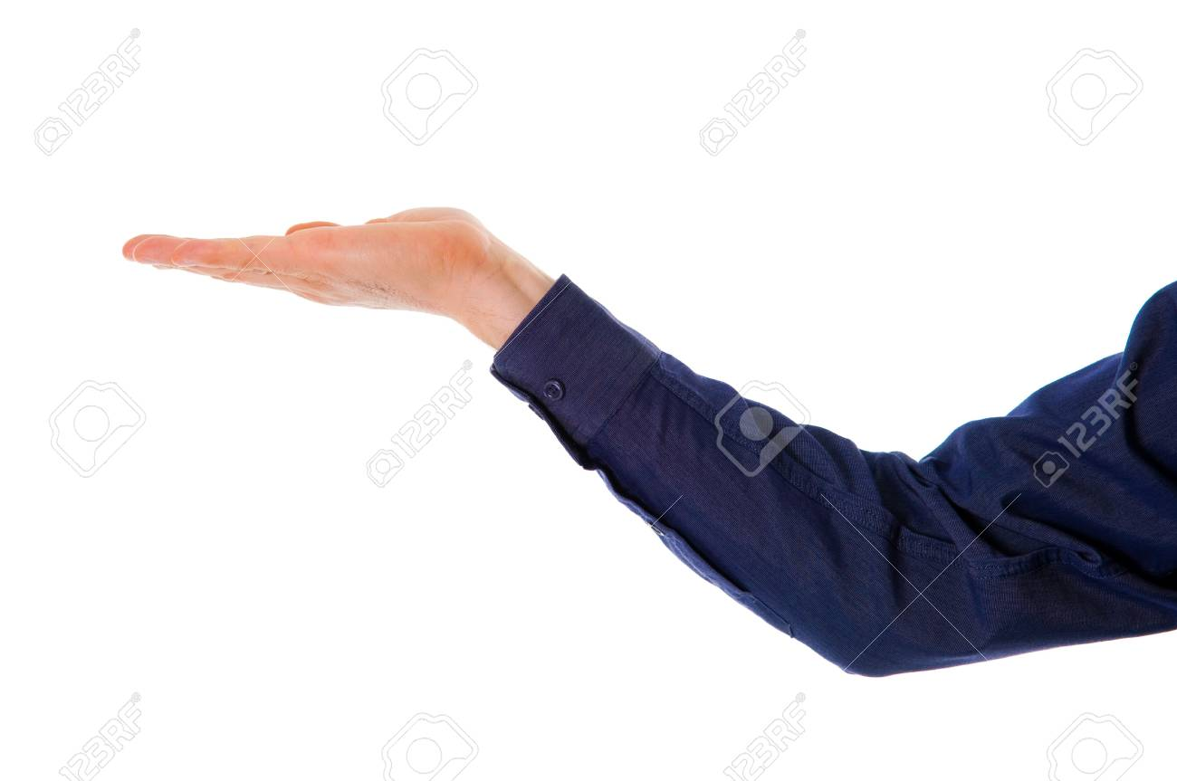 business man holding and empty hand up on white Stock Photo - 2784430