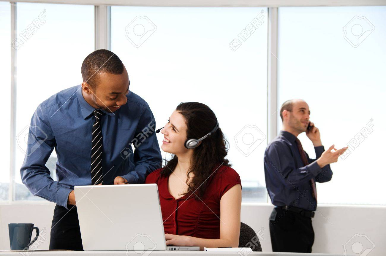 business team with a woman in the foreground Stock Photo - 2831297