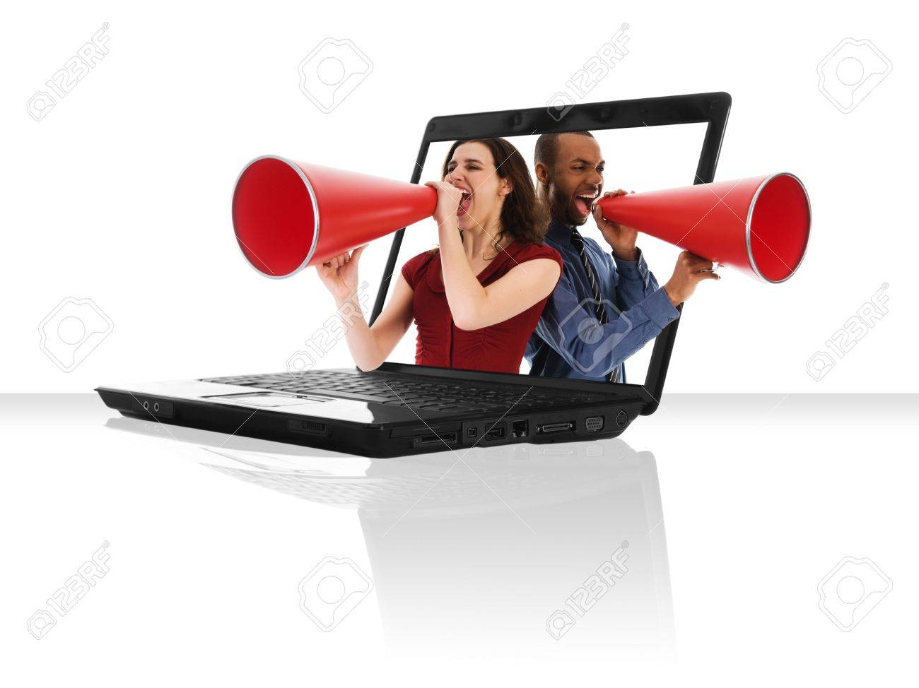 a black laptop computer with a red megaphone Stock Photo - 2914883