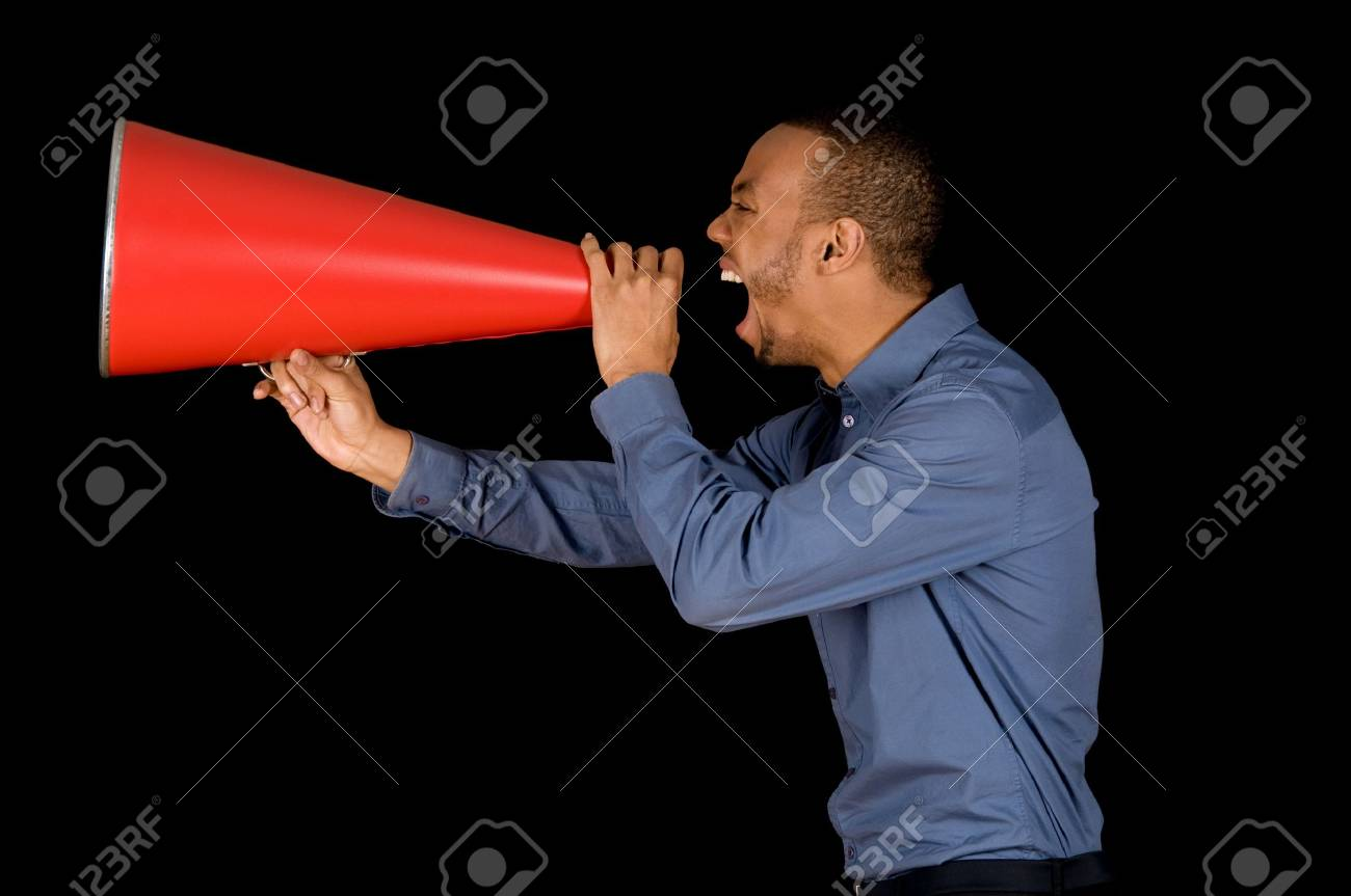 African-american business man yelling in a red megaphone Stock Photo - 2914880