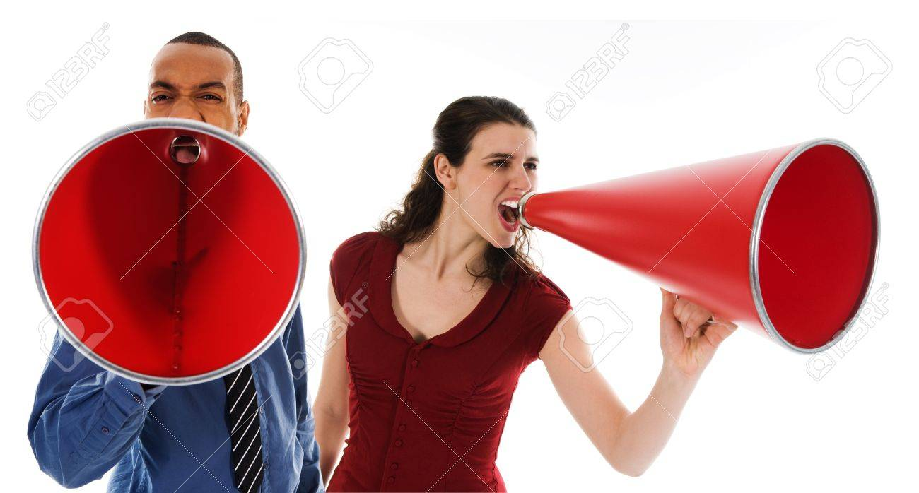 business team yelling in a red megaphone Stock Photo - 3990631