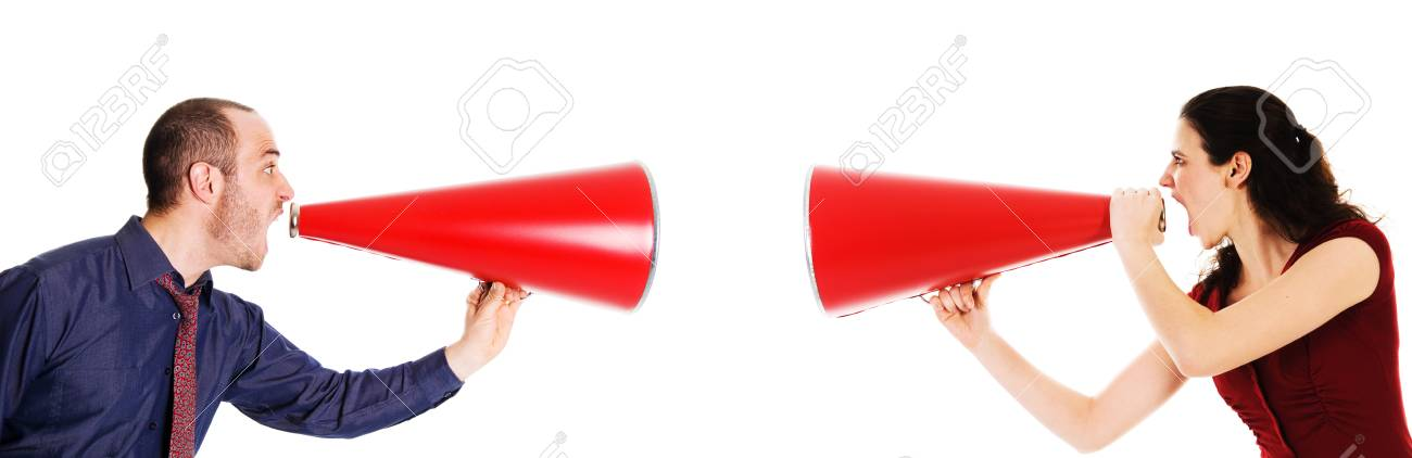 businessman and businesswoman holding a red megaphone conflict Stock Photo - 3990636