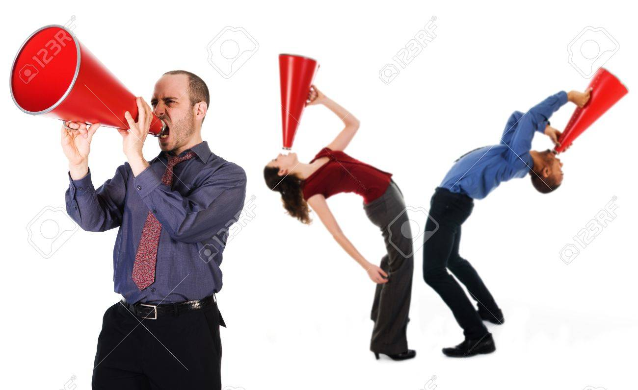 business team holding a red megaphone on emotions Stock Photo - 3990635