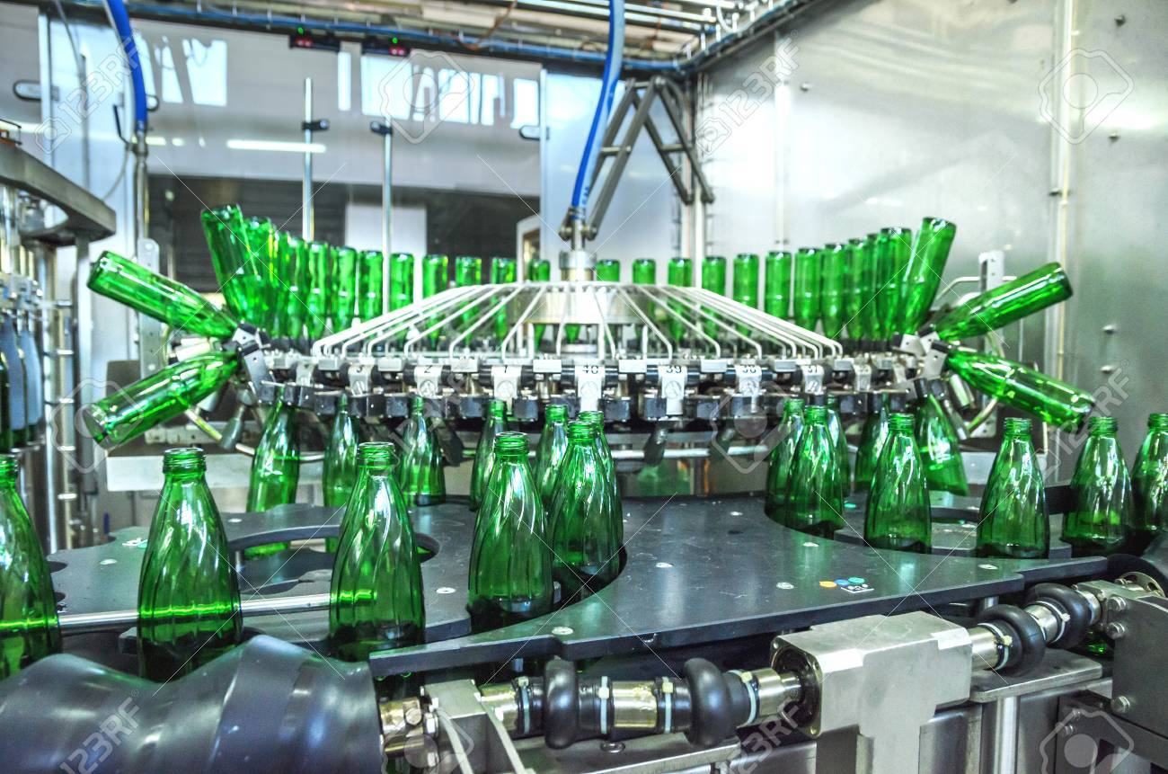 water green bottling plant. Industrial conveyor of mineral water. process equipment - 68212842