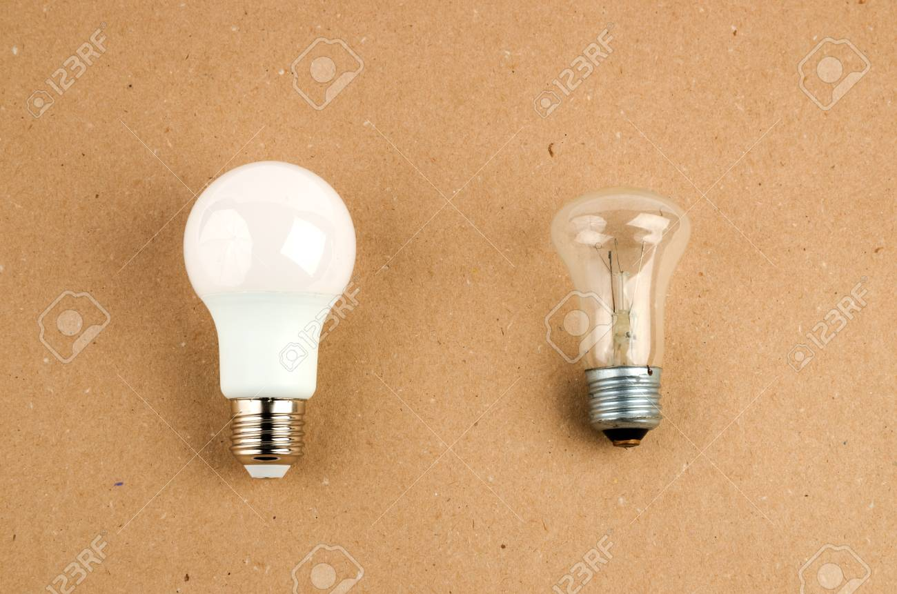 Several LED Energy Saving Light Bulbs Over The Old Incandescent, Use Of  Economical And Environmentally