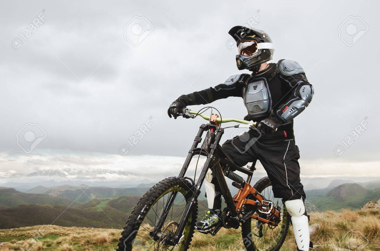 The Rider In The Full Face Helmet And Full Protective Equipment