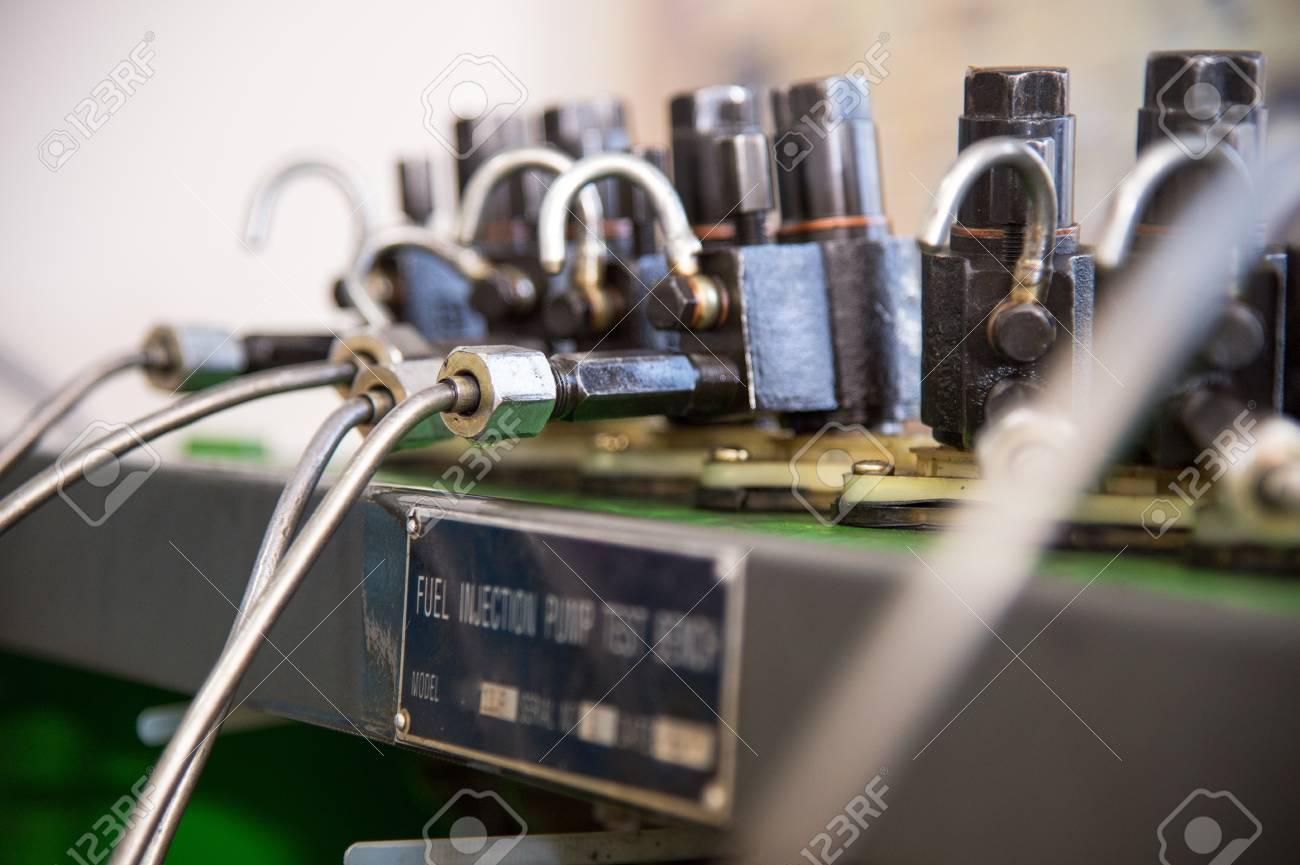 close-up high pressure diesel fuel pump test bench
