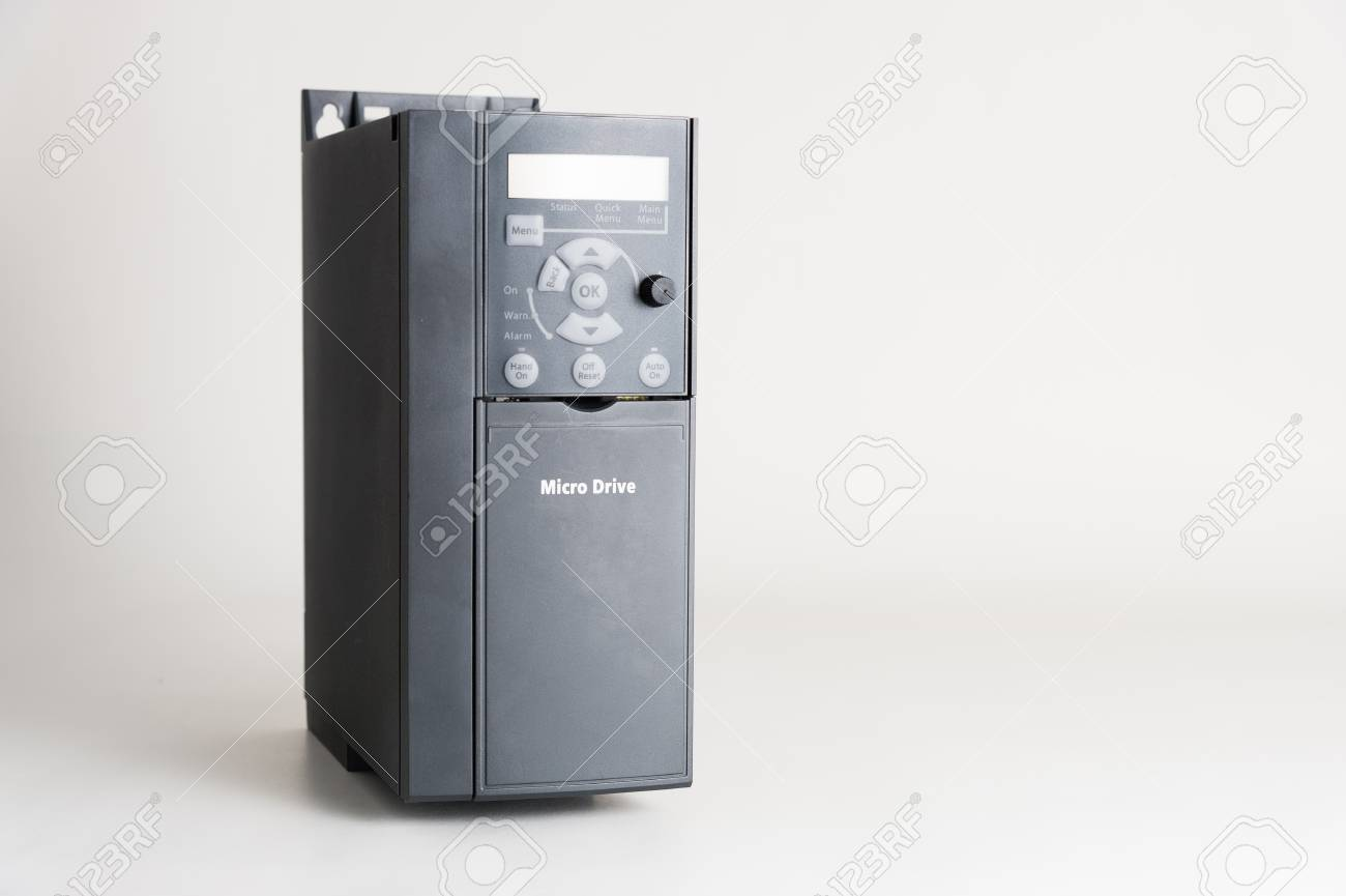 A new universal inverter for controlling the electric current and power for industrial on a gray white background. - 89595643