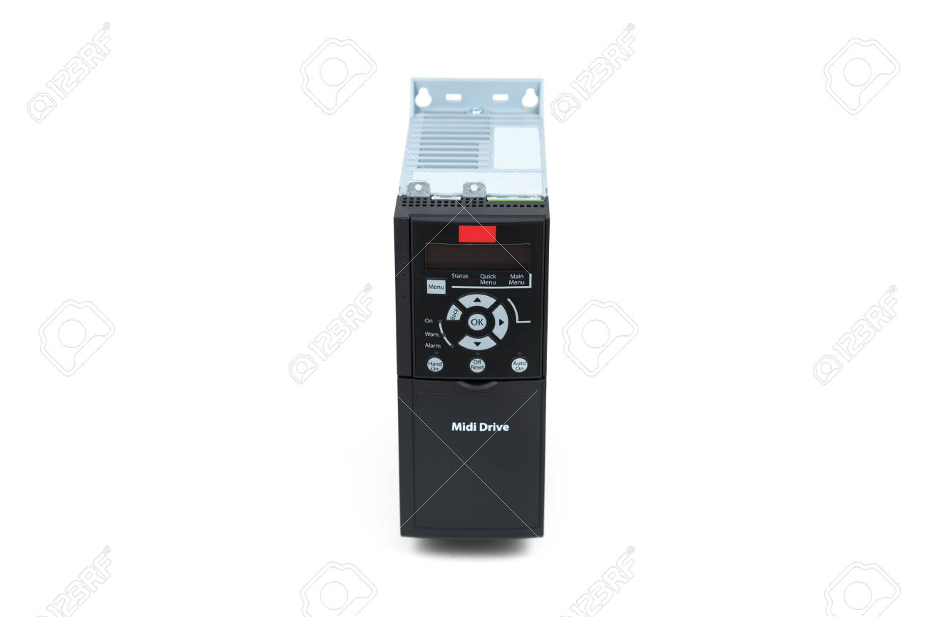A new universal inverter for controlling electric current and power for industrial use on an isolated white background. Frequency converter - rectifier - power stabilizer. - 96087186