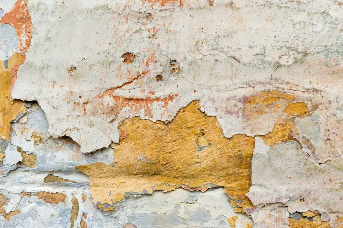 Close Up Fond Texturé De Peinture écaillée écaillée Sur Le Mur Mélange De Différentes Couleurs De Projections Les éclaboussures De Couleur Jaune