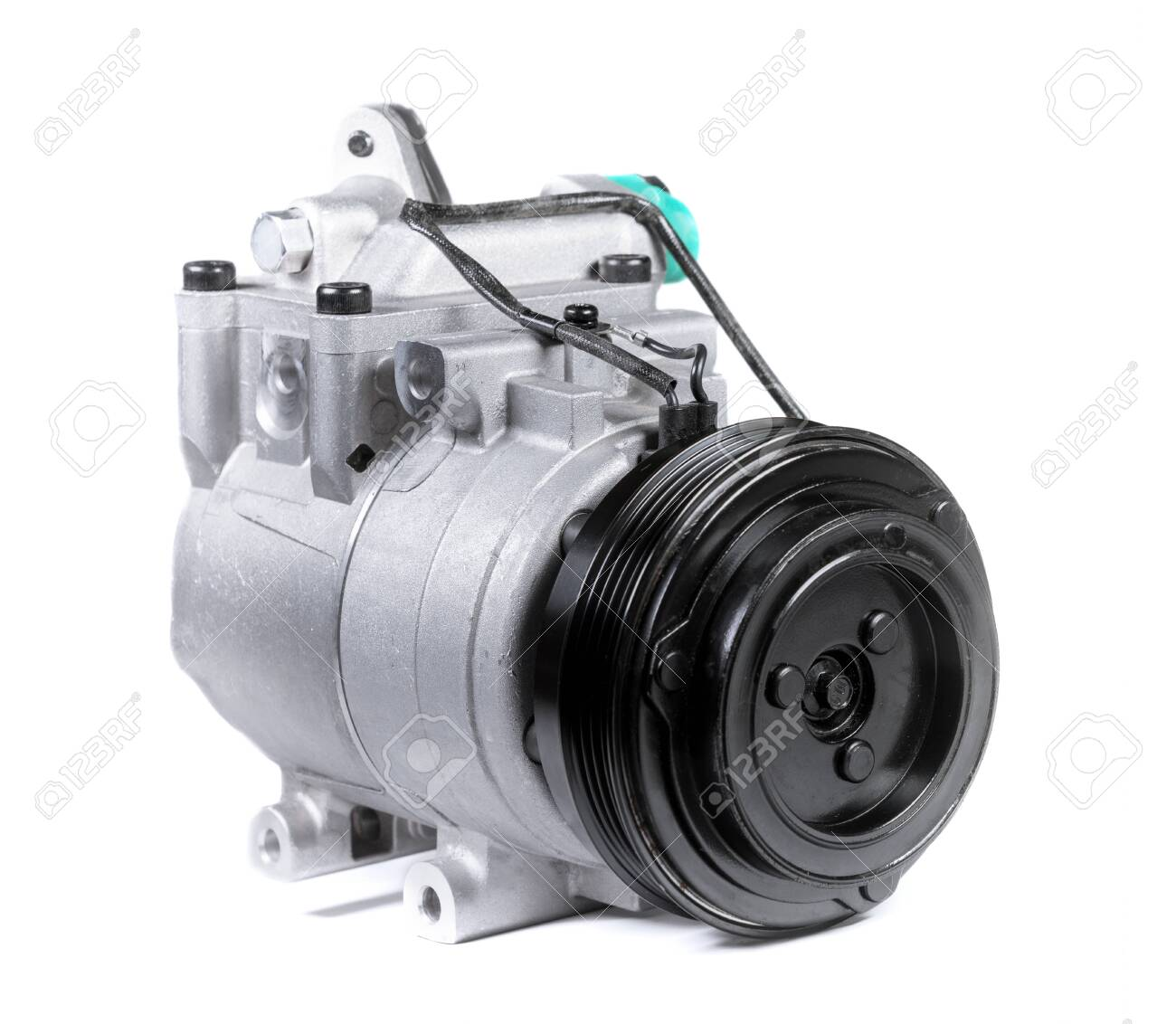 New car air conditioning compressor on isolated white background - 131493186