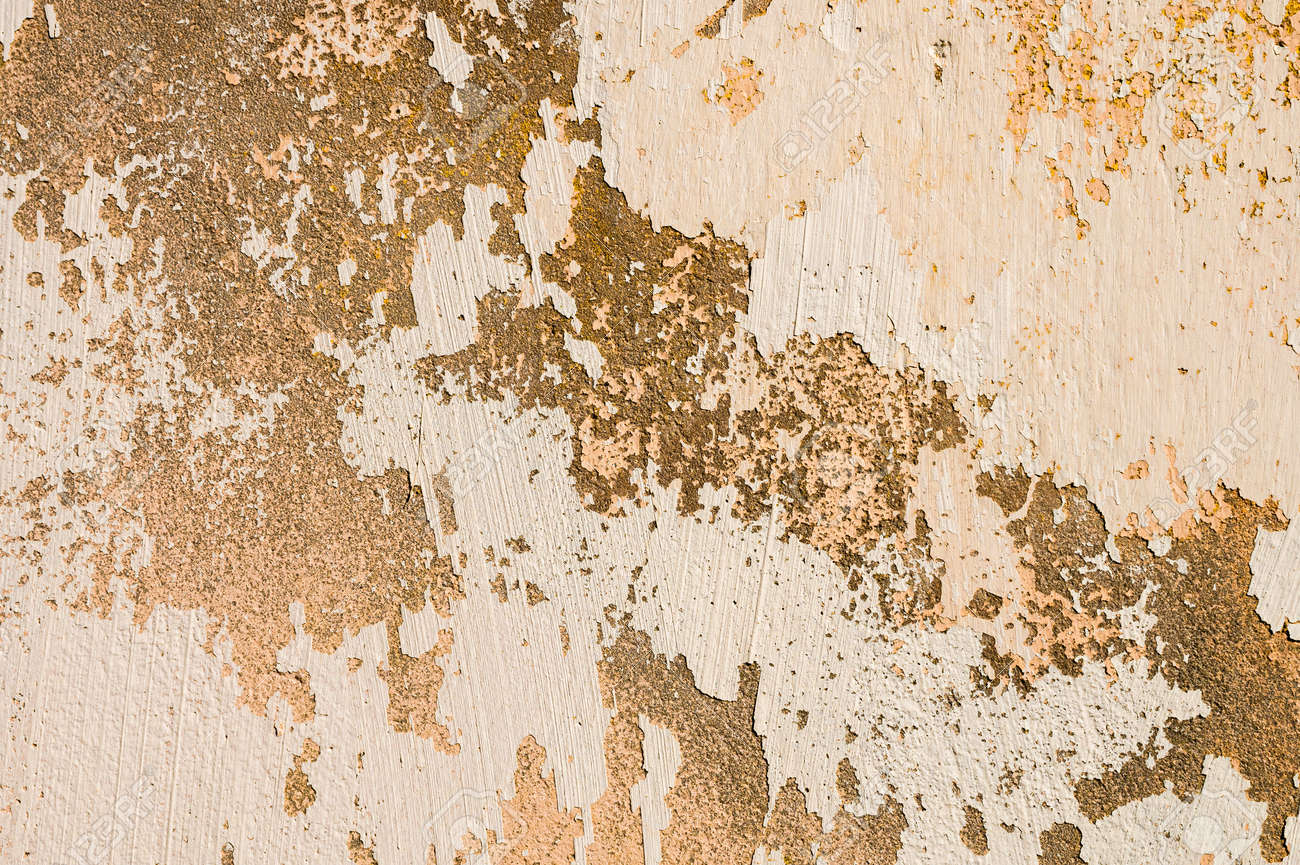 The old cement wall, painted and putty, peels off and collapses. Grunge background texture - 173451976