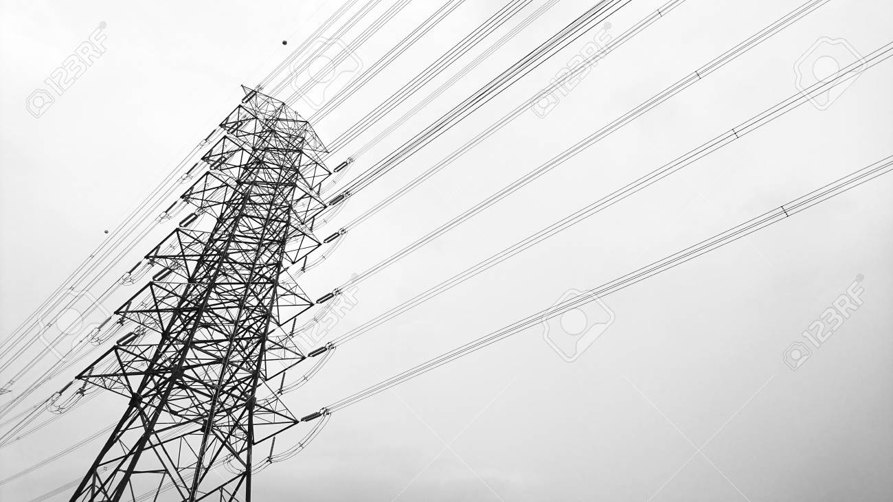 Black And White Silhouette High Voltage Tower Electricity Transmission Stock Photo Picture And Royalty Free Image Image 111333690