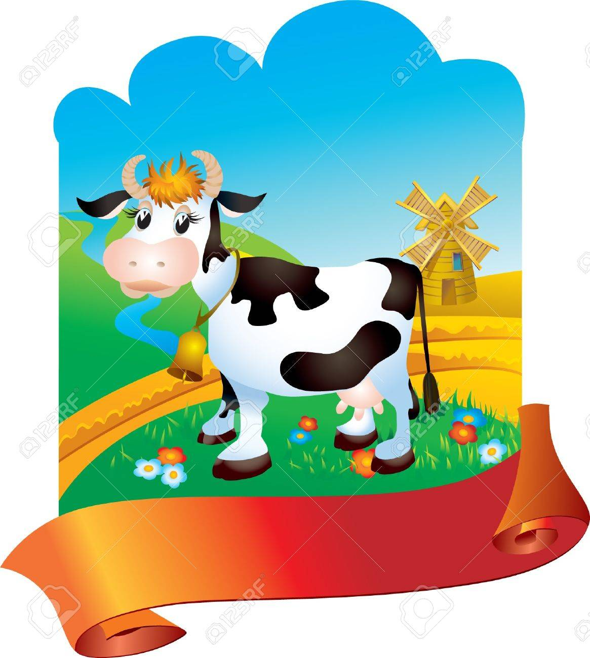 Cow against a rural landscape with mill Stock Vector - 12519148