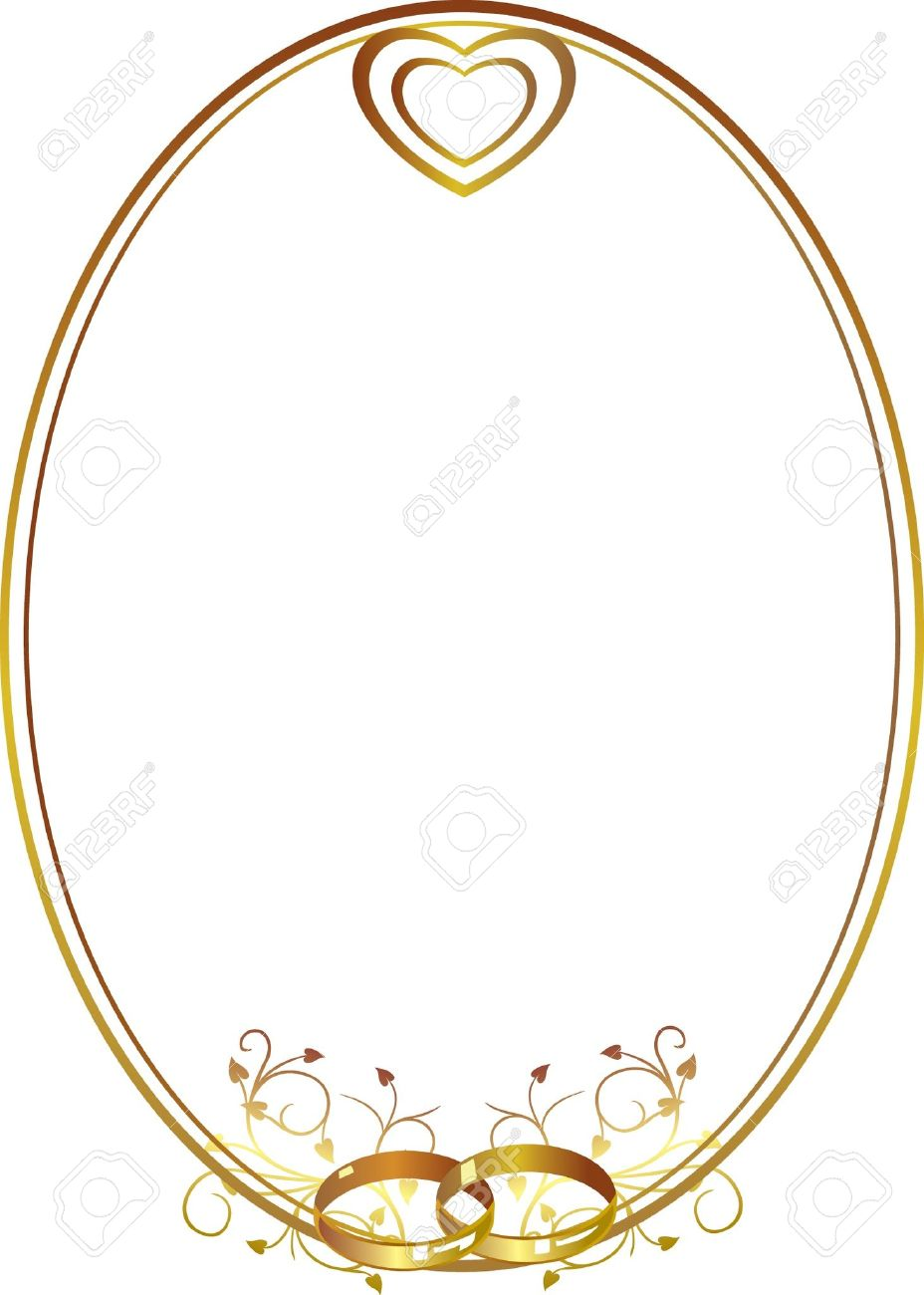 Decorative Gold Frame With Wedding Rings And Hearts Stock Vector