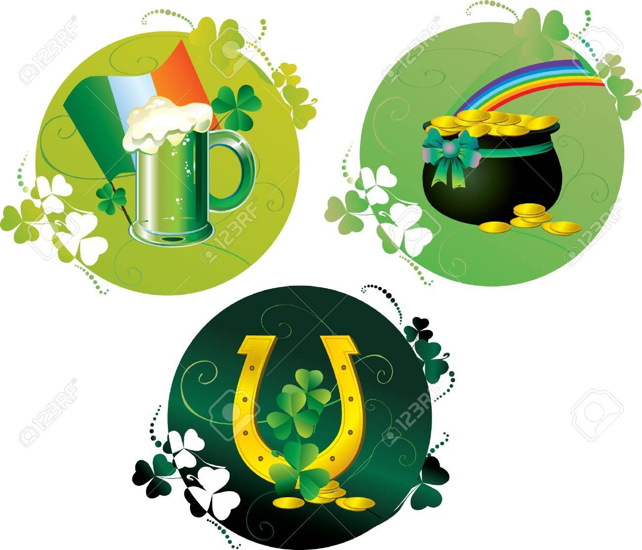 Round Patrick cards with beer, pot,horseshoe, rainbow and irish flag Stock Vector - 17842668