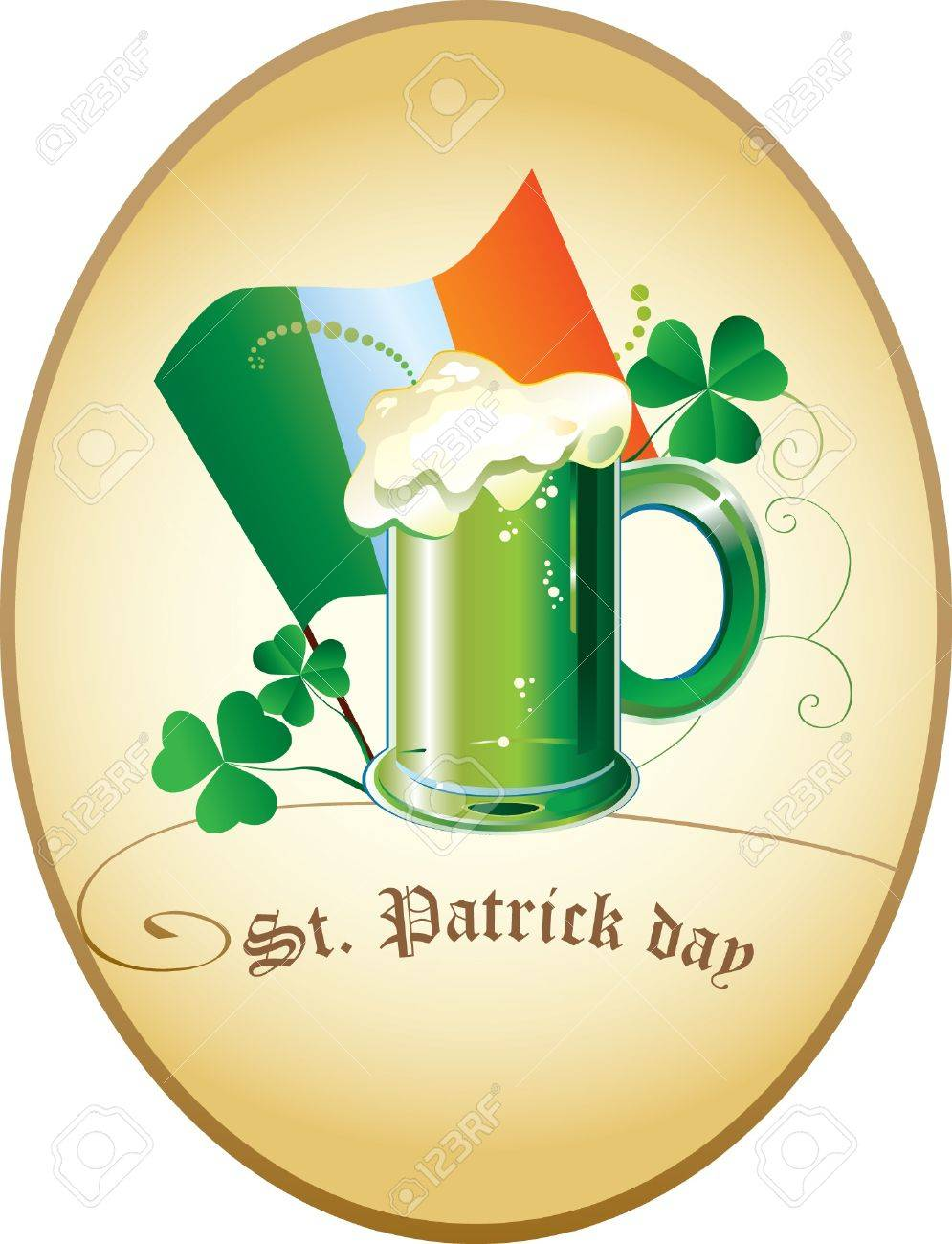 Patrick card with clover, irish flag and green beer Stock Vector - 17842669