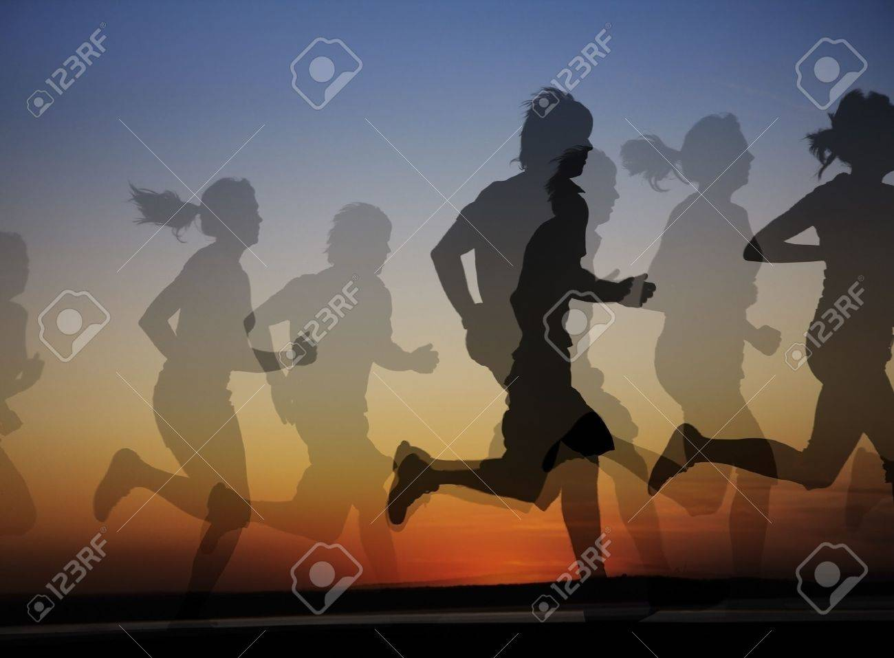 group of runners both male and female on the background of a beautiful sunset. Collage Stock Photo - 9131728