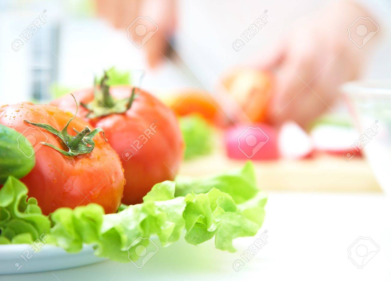 Kitchen Table With Food close-up of salads with fresh vegetables stock photo, picture and