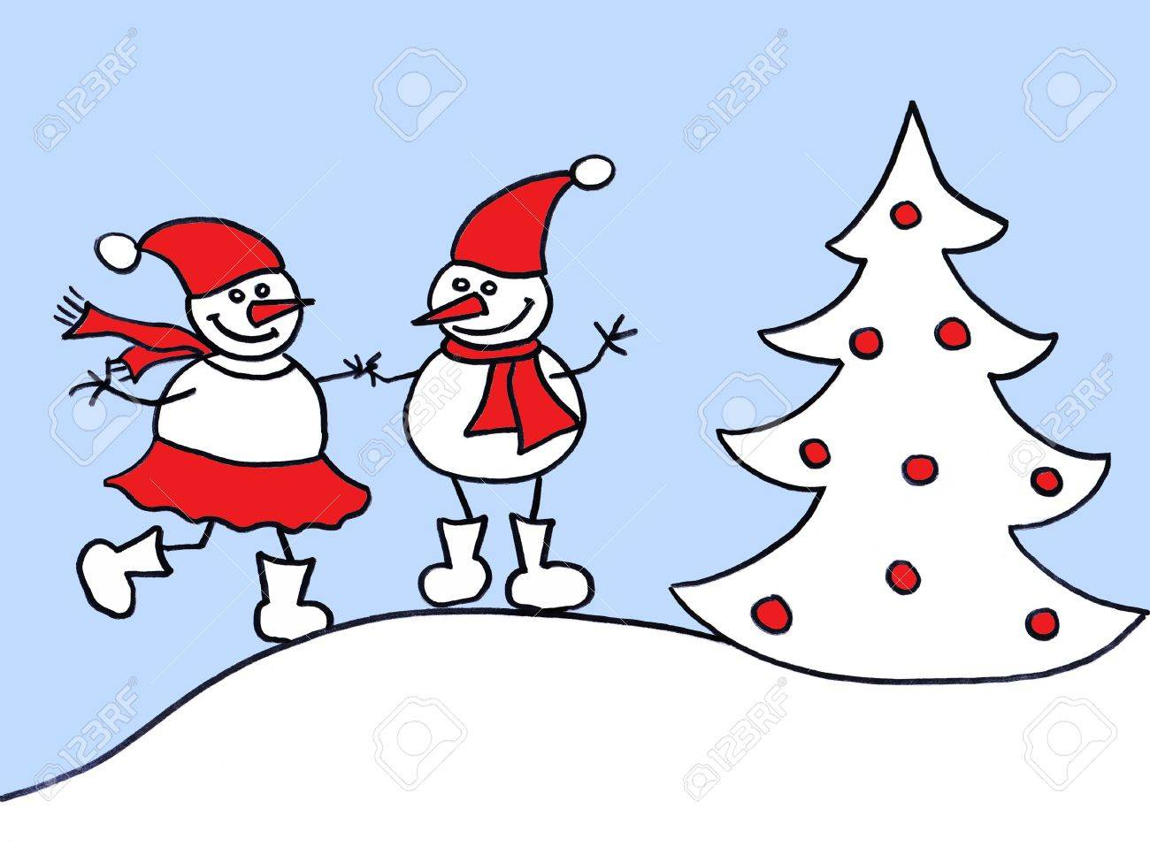 Child's drawing of couple snowman and snowwoman Stock Photo - 10599782