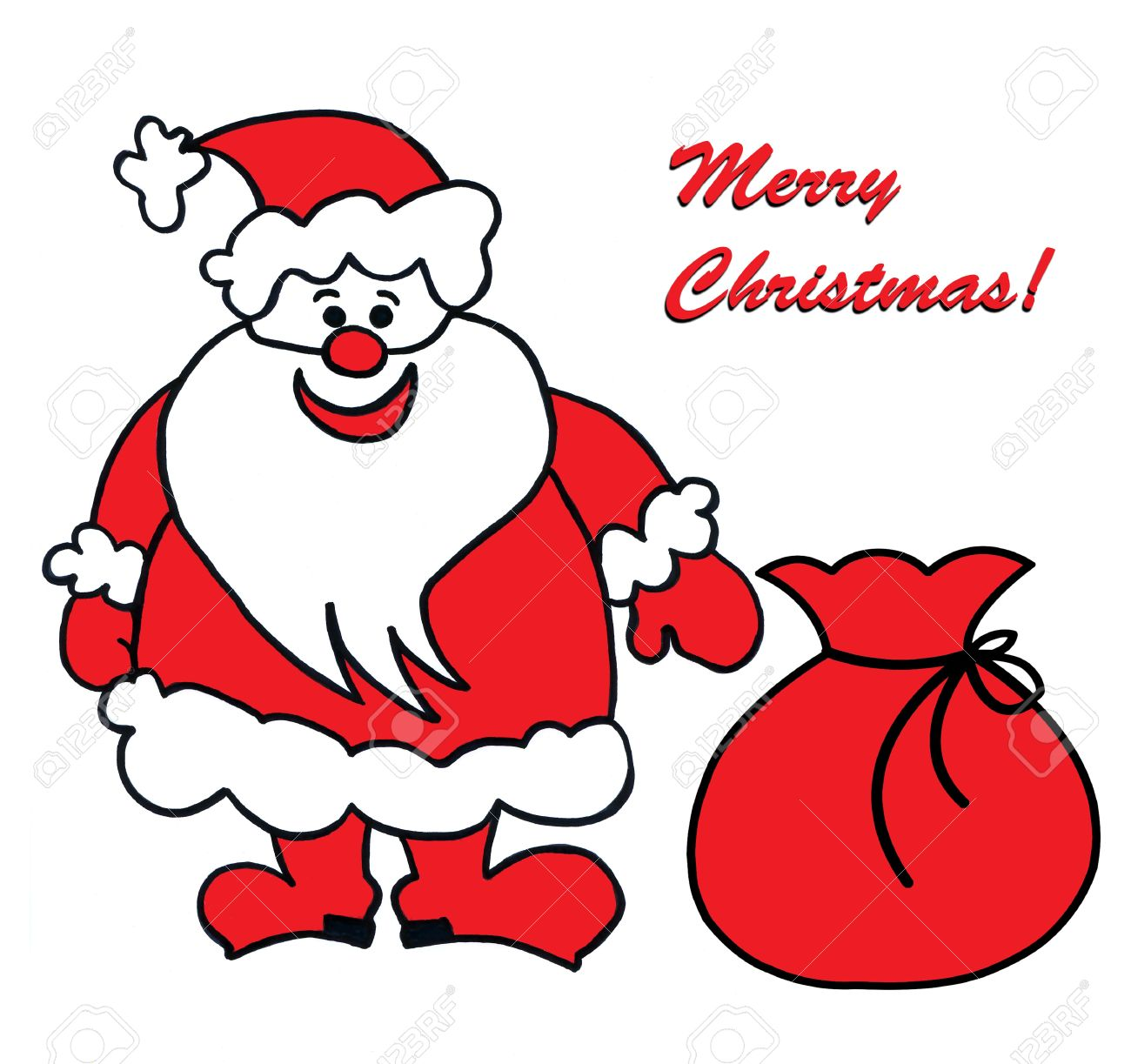 Childs Drawing Of Santa Claus Stock Photo 10599784