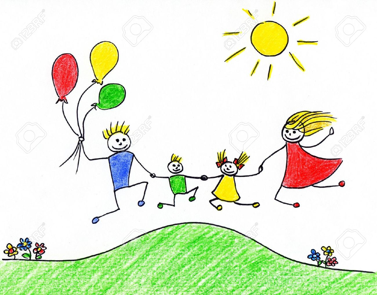 Children's drawing of happy family having good time together Stock Photo - 10684068