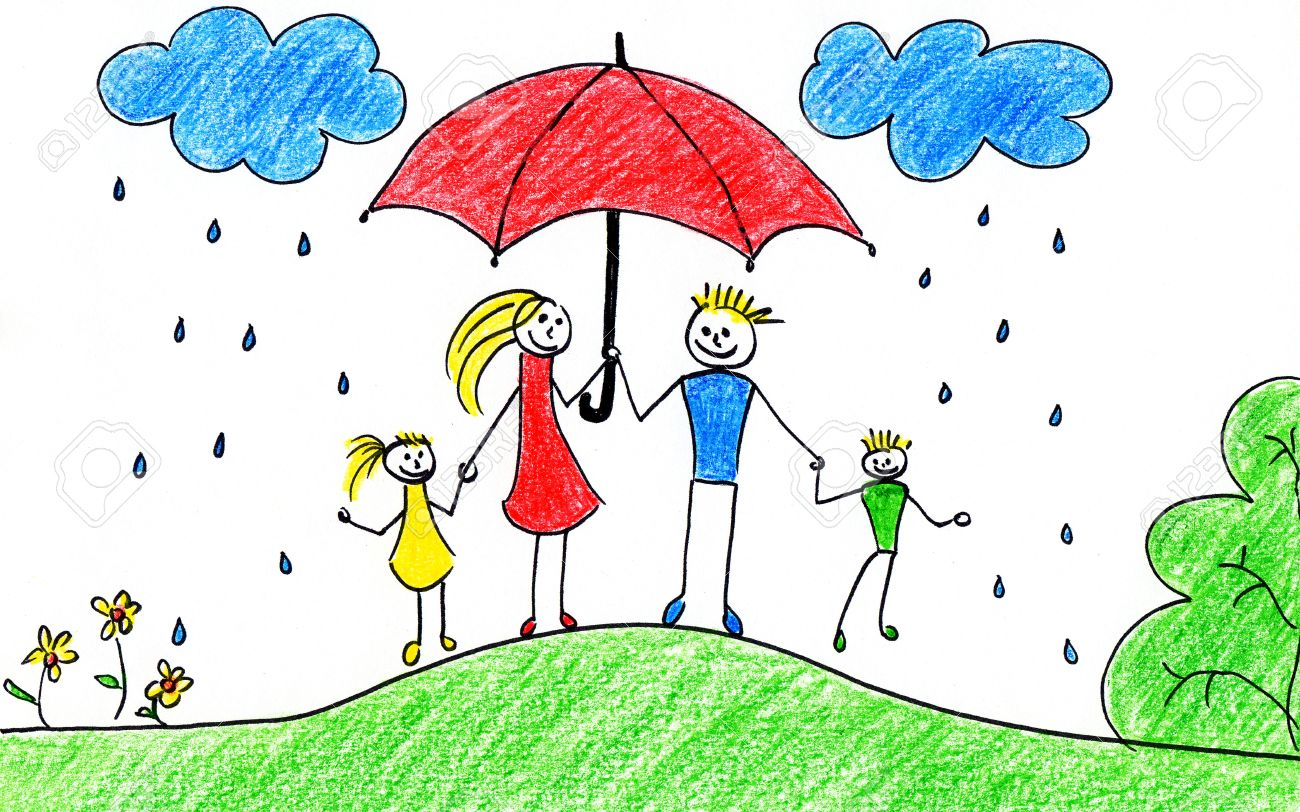 Uncategorized Childrens Drawing childrens drawing of happy family with umbrellas in autumn time stock photo 10684075