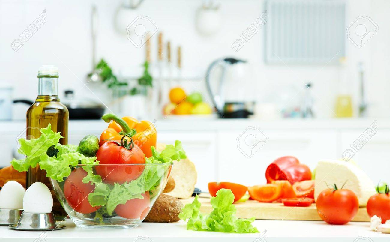 healthy foods are on the table in the kitchen stock photo, picture