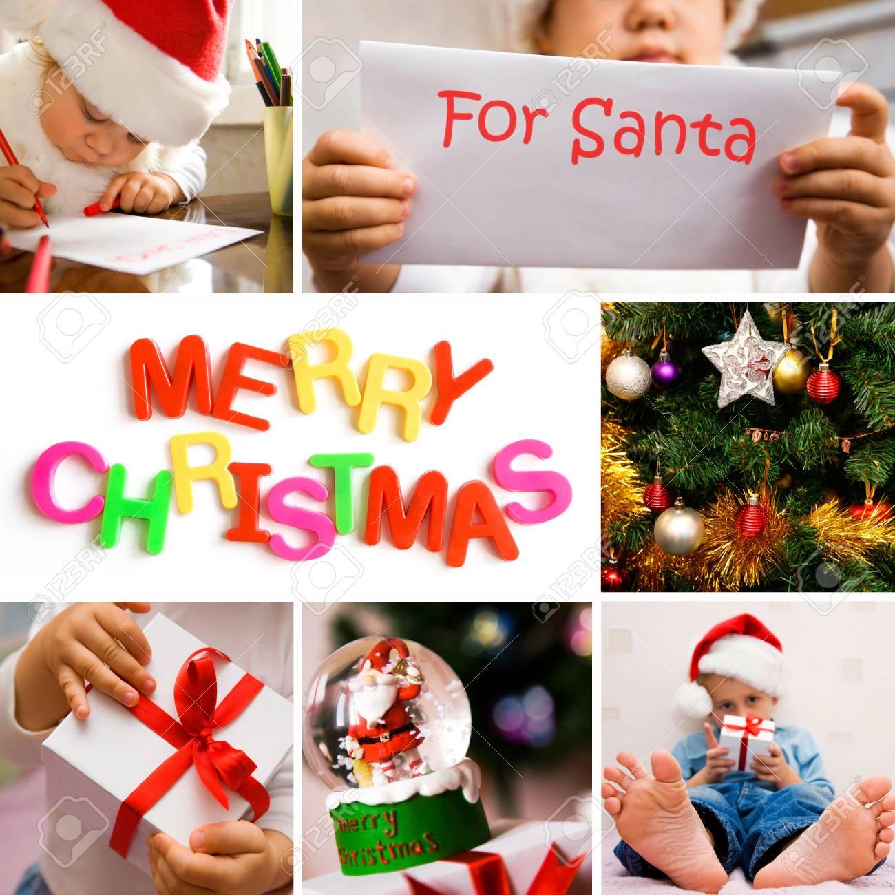 collage on the theme of Christmas: Christmas tree, kids, gifts Stock Photo - 10932800