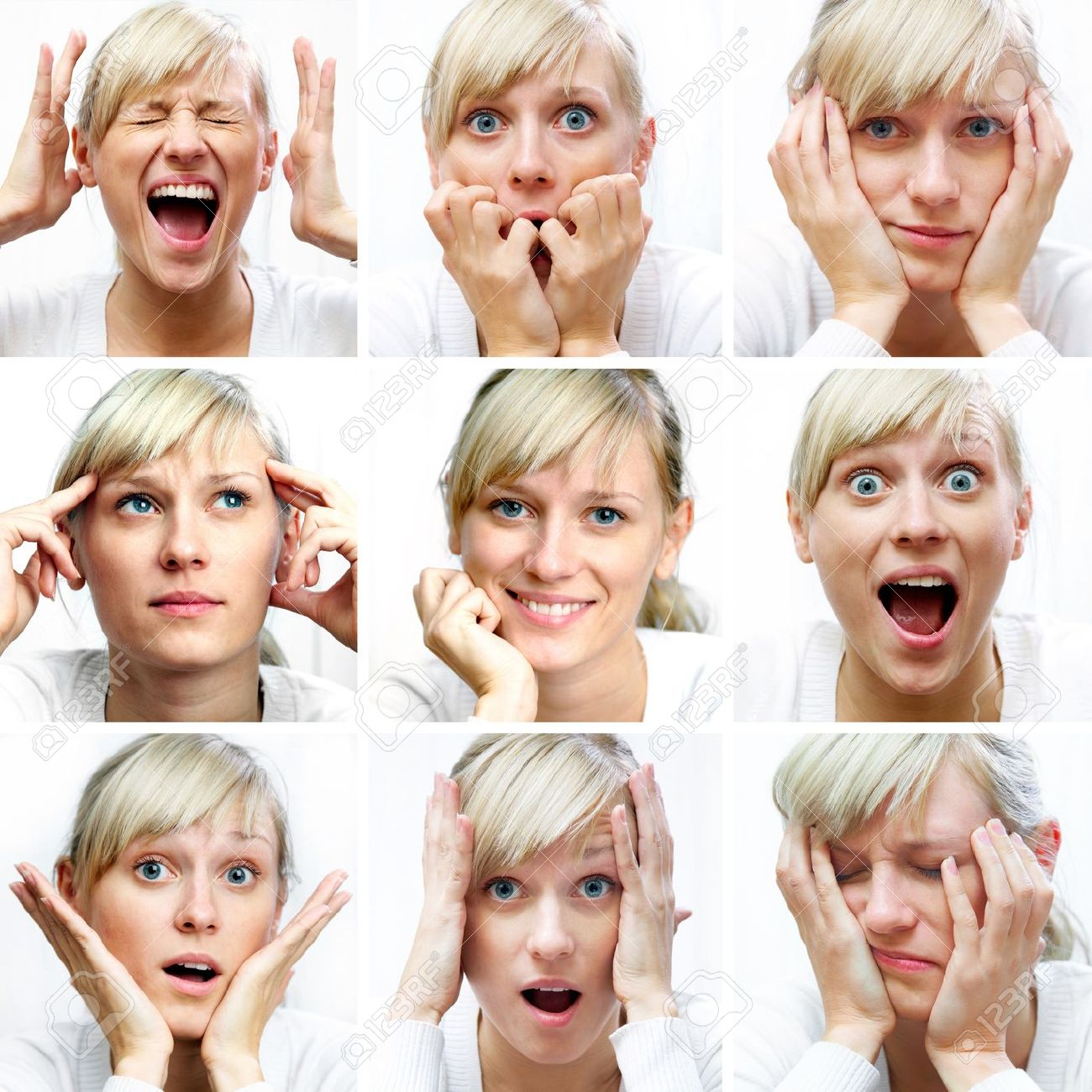 Collage of woman different facial expressions - 10932805