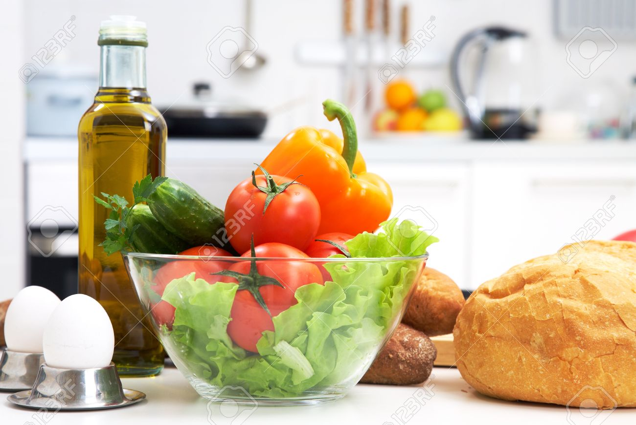 Kitchen With Food Healthy Foods Are On The Table In The Kitchen Stock Photo Picture
