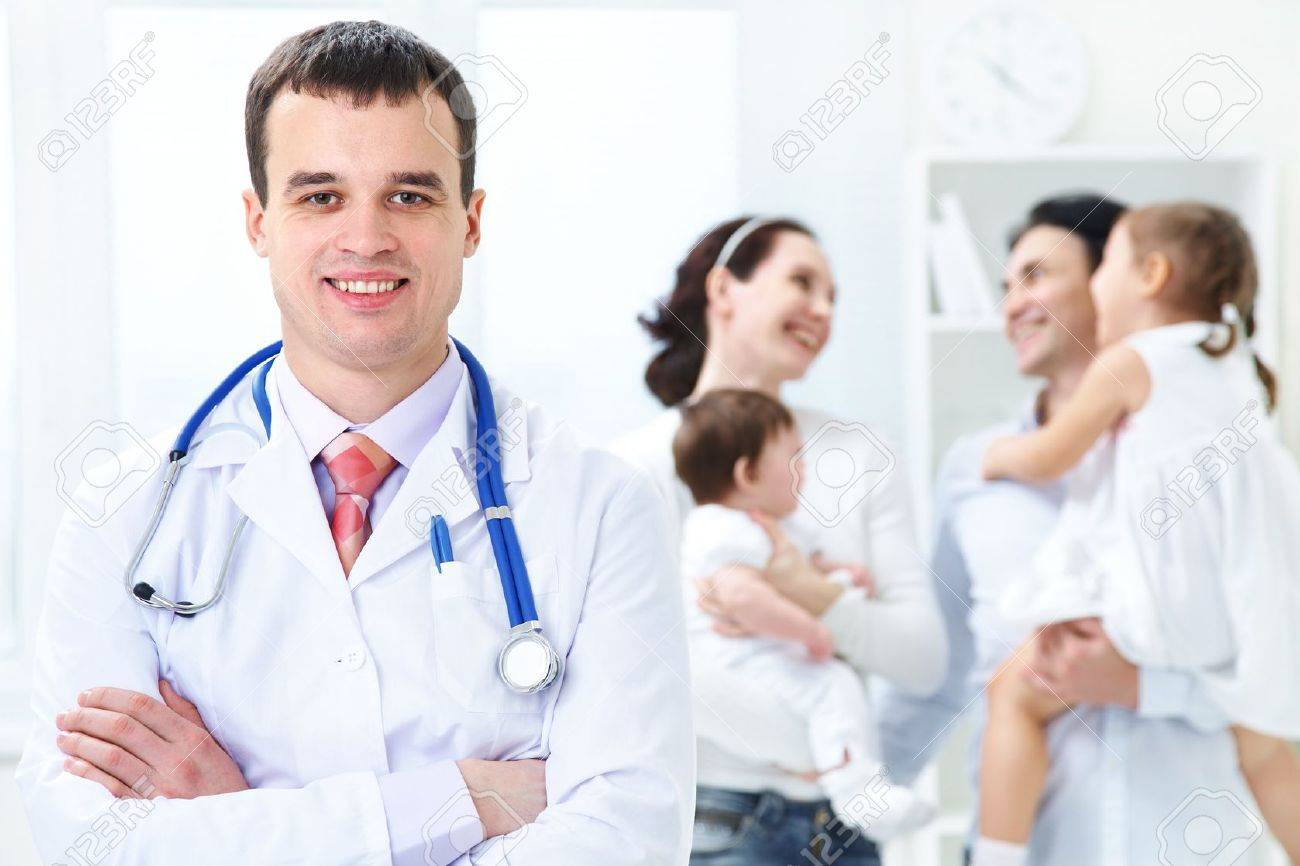 family career stock photos pictures royalty family career family career portrait of doctor in the background of healthy happy family stock photo