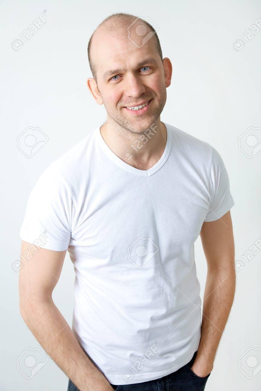 Portrait of positive bald-headed smiling man Stock Photo - 12838898