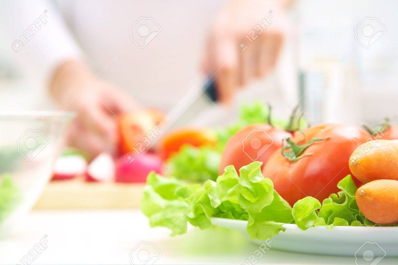 Human Hands Cooking Vegetables Salad In Kitchen Stock Photo ...