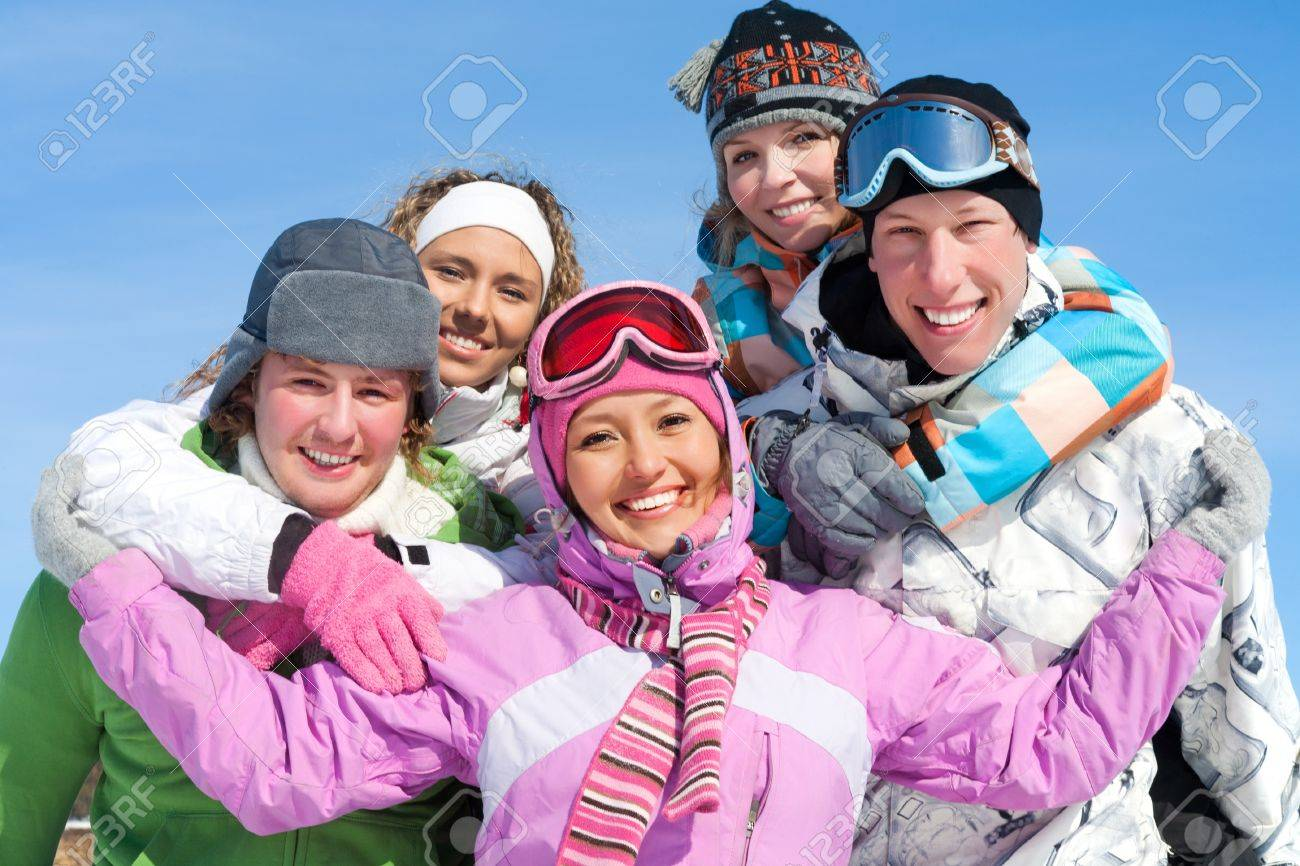 Portrait of Group of  teenagers have a good time in winter Stock Photo - 15975446