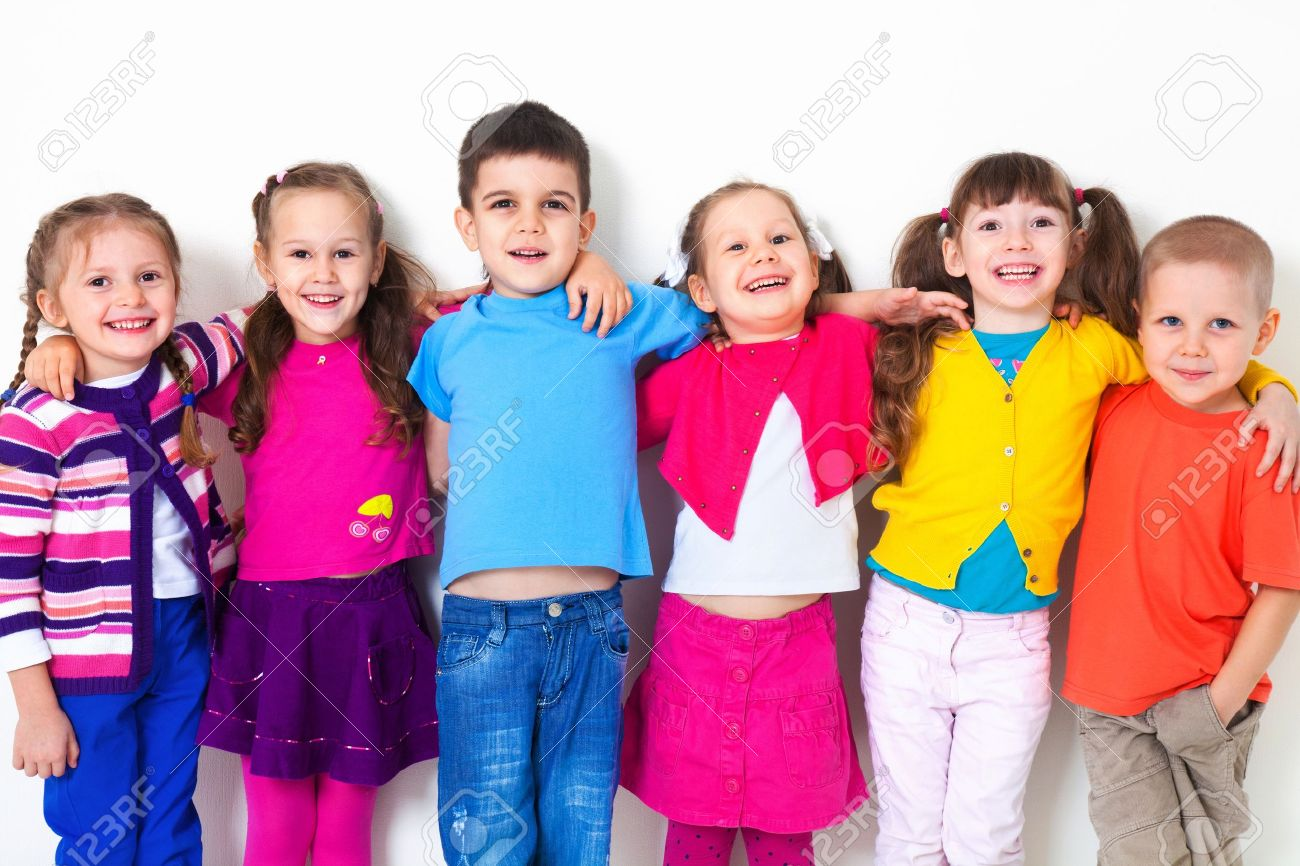 Big  group of diverse children  at  white wall Stock Photo - 16036043