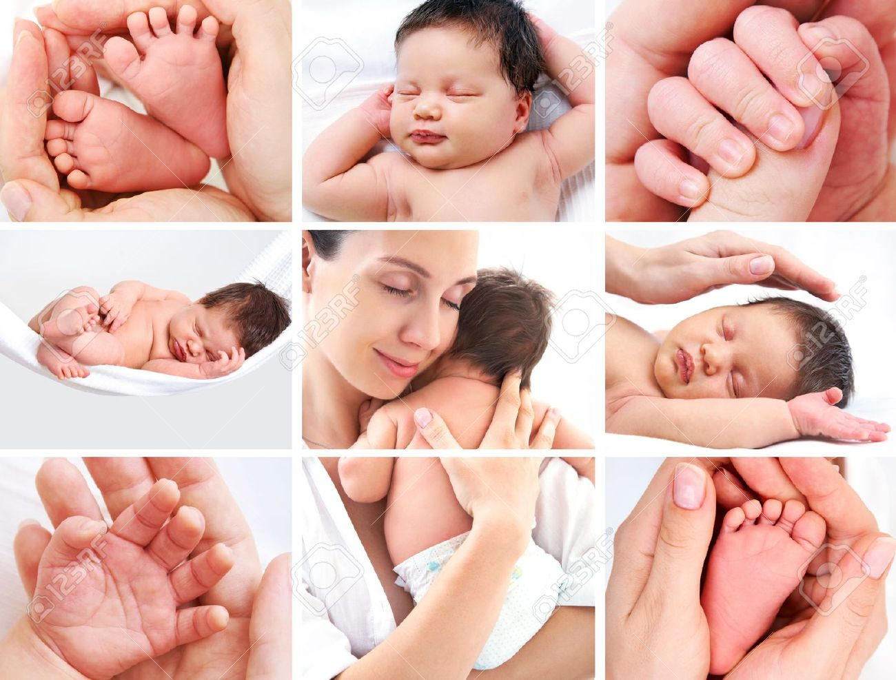 collage of pictures of happy mother with baby over white stock photo 21131226