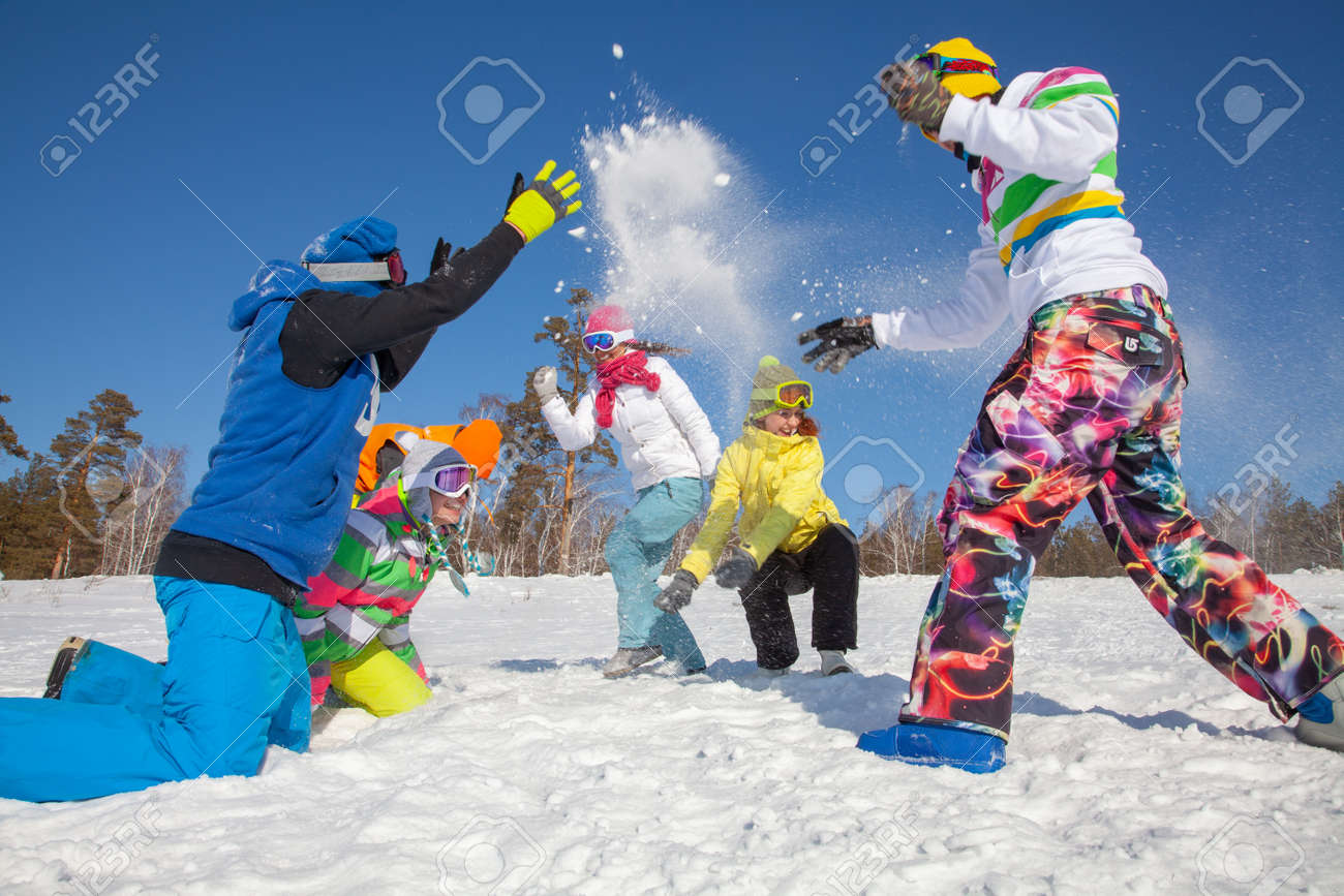 group of friends have a good time in winter resort - 159524842