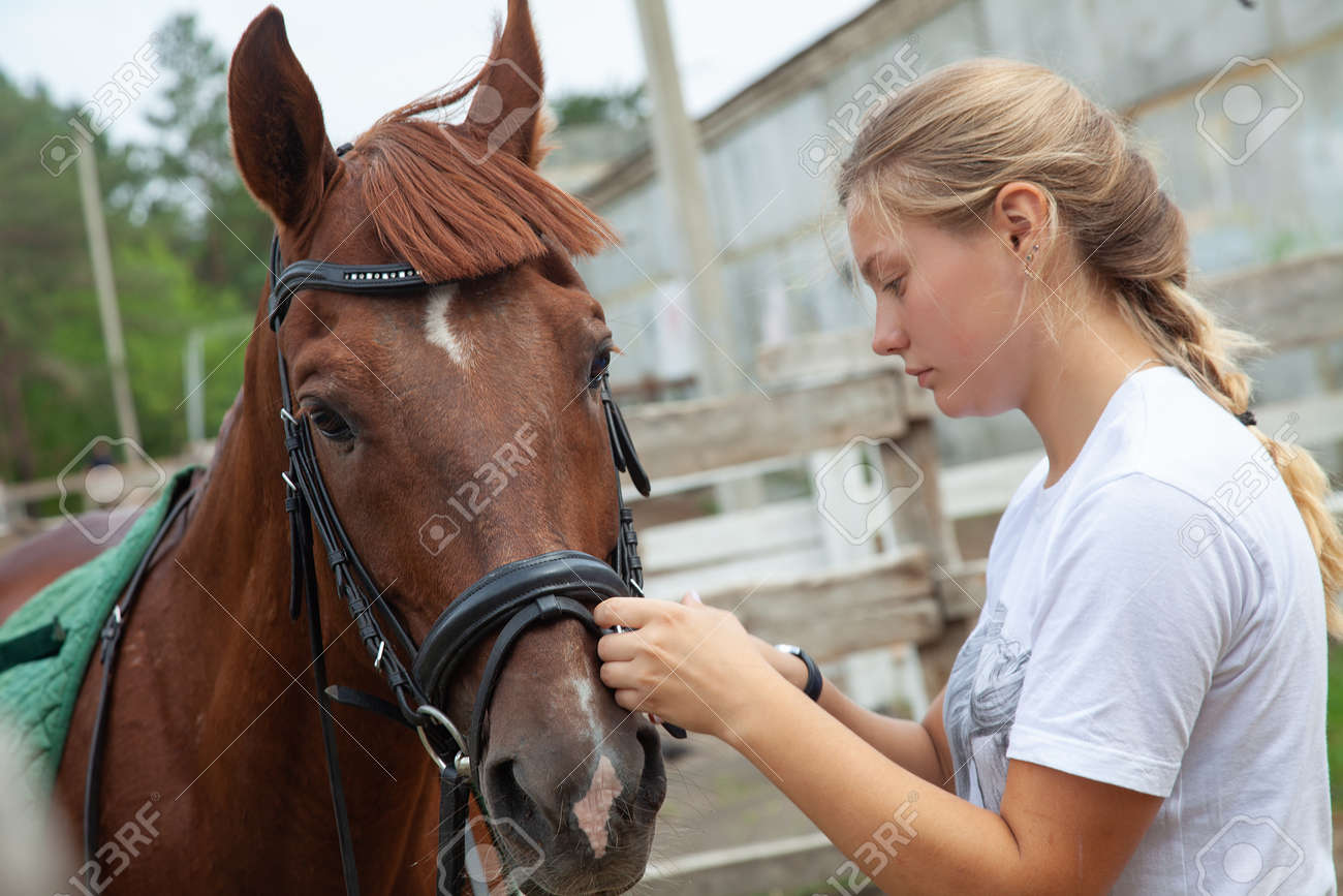 Young girl caring for a horse on a farm - 166657833