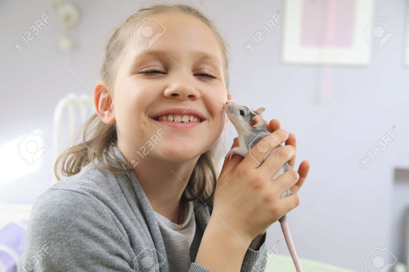 Little girl cute plays and makes friends with a white tamed mouse at home. - 167908408