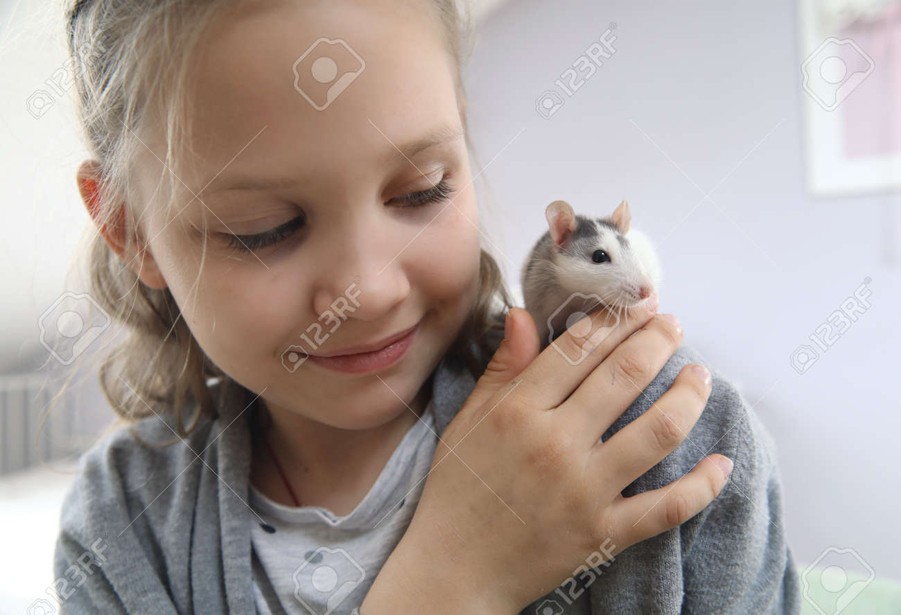 Little girl cute plays and makes friends with a white tamed mouse at home. - 167908846