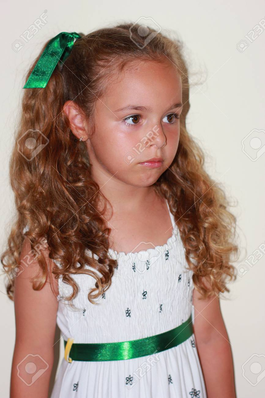 044a68ff3 Little Pretty Girl In White Dress Stock Photo