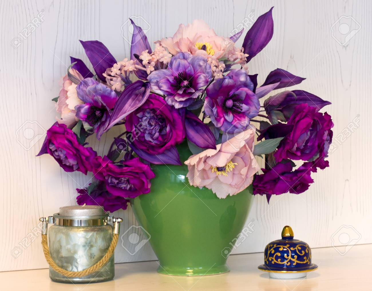 Bouquet Of Pink And Purple Peonies Artificial Flowers Made Of Stock Photo Picture And Royalty Free Image Image 96733023